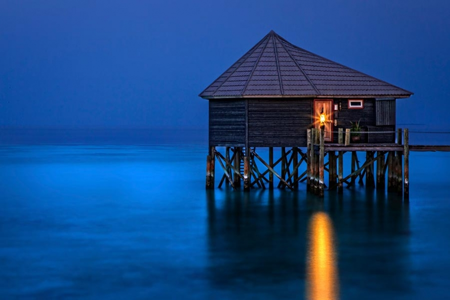 maldives water villa twilight long exposure