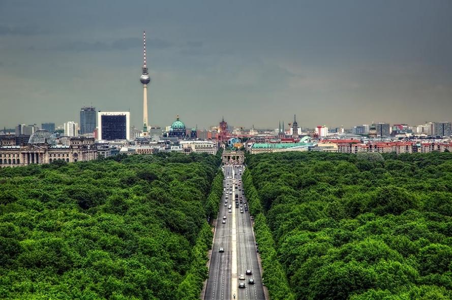 berlin skyline view from victory column in tiergarten