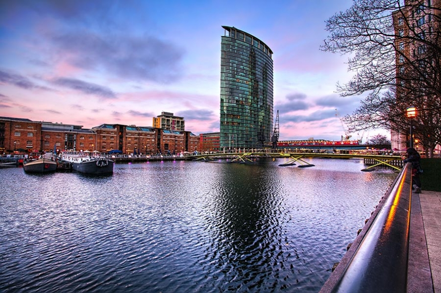 West India Quay at Canary Wharf in London Docklands