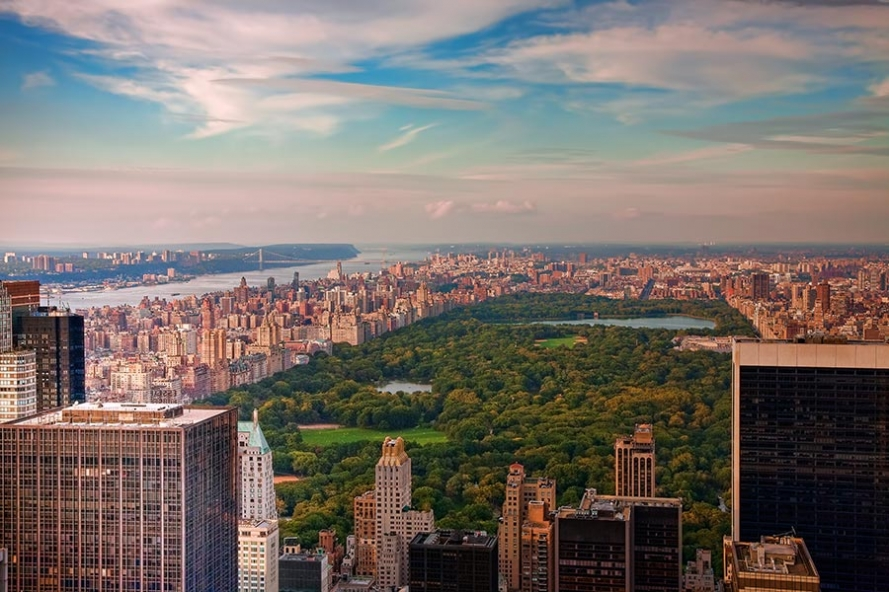View from top of the rock towards central park and uptown manhattan