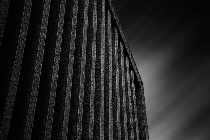 black and white long exposure abstract image of the mexican embassy in berlin