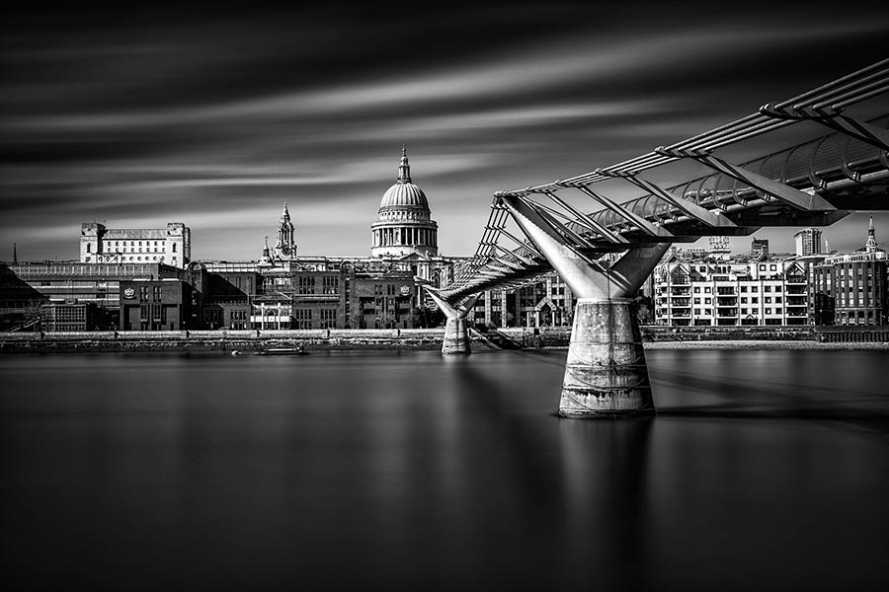 millenium bridge, river thames and st paul