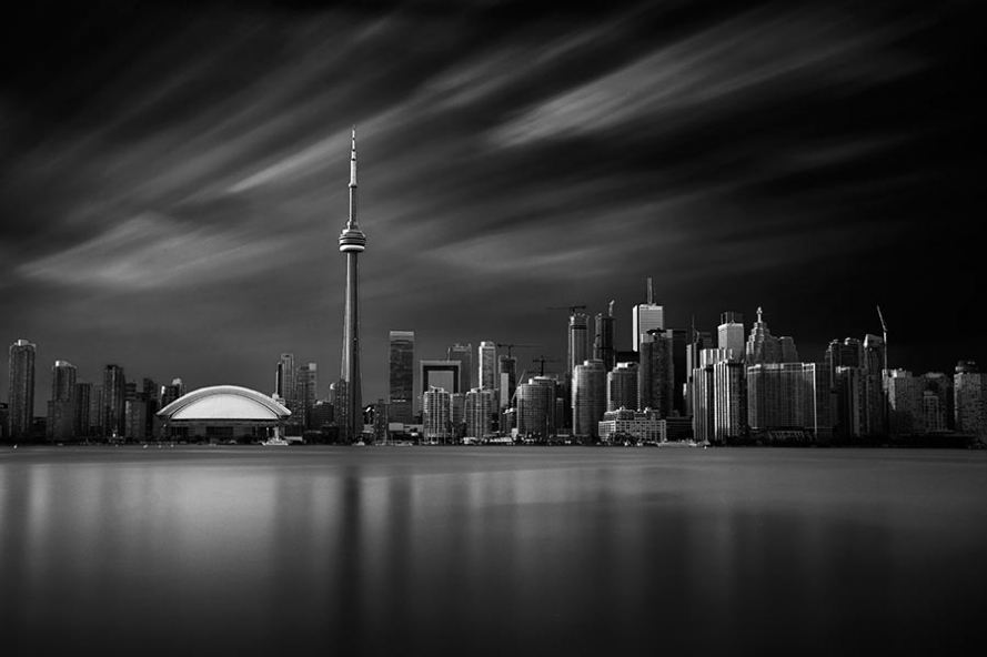 Toronto skyline long exposure black and white from Toronto Island