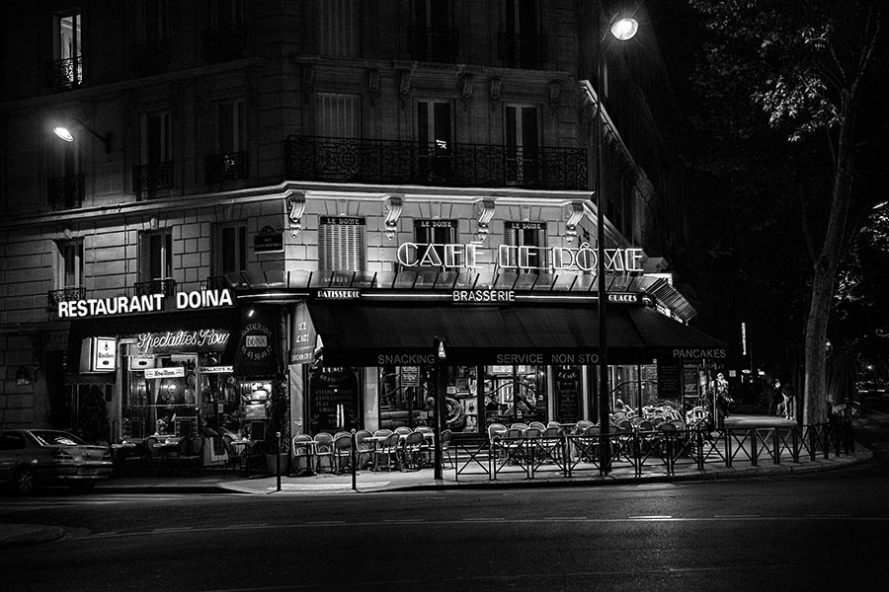 street cafe in paris at night