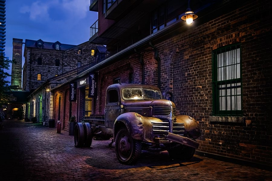 old dodge truck in the Toronto distillery district