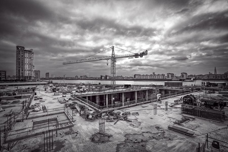 Canary Wharf construction site in London