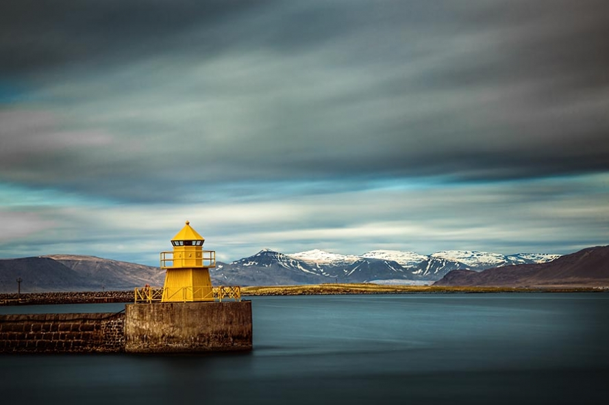 Nordurgardi lighthouse in Reykjavik harbour, Iceland