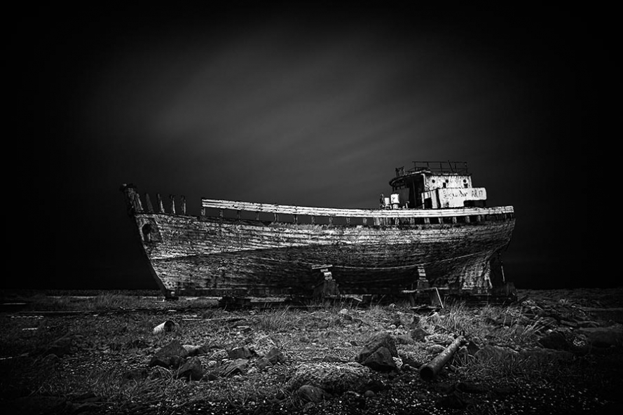 wreck of fishing boat at akranes in iceland