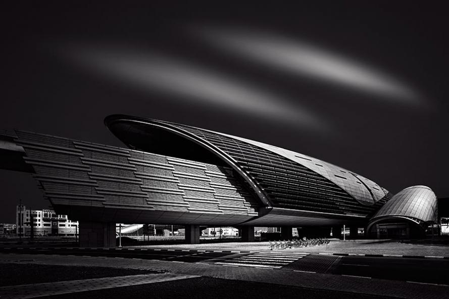 dubai metro station black and white long exposure photograph