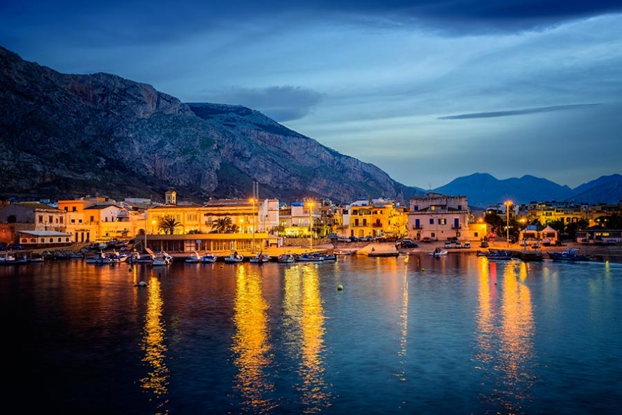 Isola Delle Femmine Harbour at twilight.